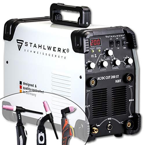 STAHLWERK AC/DC WIG 200 Plasma ST IGBT - Kombi 200 Amp WIG + MMA Schweißgerät mit 50 Amp CUT Plasmaschneider, ALU geeignet, weiß, 5 Jahre Garantie*