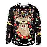 Weihnachtspullover Unisex 3D Druck Sweatshirt Pullover, Zhen+ Herren Damen Herbst Winter Rundhals Sweatshirt Paar Streetwear Casual Langarm Kapuzenjacke Oberteil Mantel (2XL, B)
