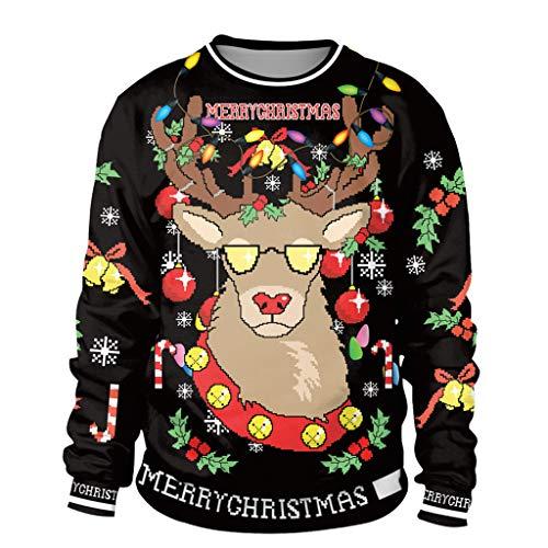 Lulupi Unisex Weihnachtspullover 3D Druck Hässliche Lustige Christmas Pullover Weihnachten Pärchen Weihnachtspulli Led Ugly Sweater Jumper Shirt