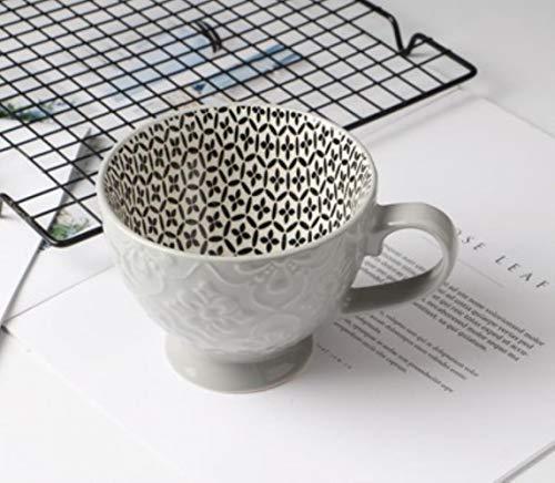 Tasse à café en céramique Peint à la Main créative Coupe du Vintage Café Bar Supplies Petit-déjeuner de la personnalité colorée gaufrée Cup Peint à la Main,no15