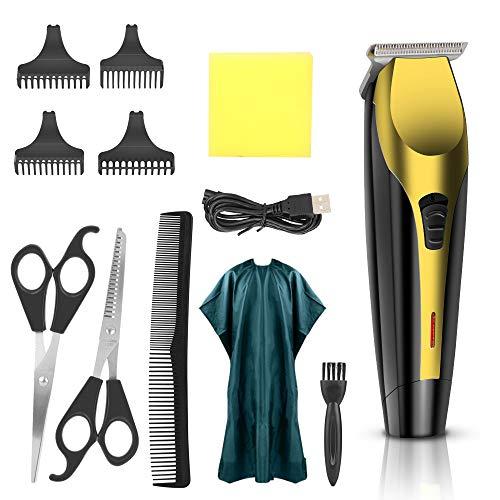 Elektrische Haarschneidemaschine Set, Haarschneidemaschine wiederaufladbarer USB Profi Haarschneiderset, Elektrisch Langhaarschneider Haarschnitt-Friseurschneider-Kit mit Friseurumhang für Männer