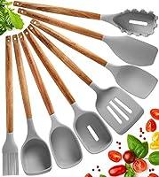 utensili cucina silicone set mestoli cucina silicone - 8 pezzi set utensili cucina silicone con manico in legno di acacia - termoresistenti al calore e antiaderente strumento di cottura