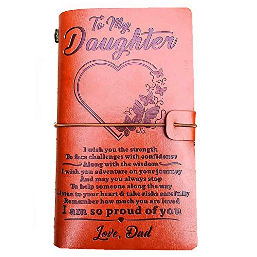 """To My Daughter Leather Journal from Dad -I Am so Proud of You-7.88""""x4.7""""Embossed Vintage Refillable Writing Journal for Christmas,Birthdays (From Dad to Daughter)"""