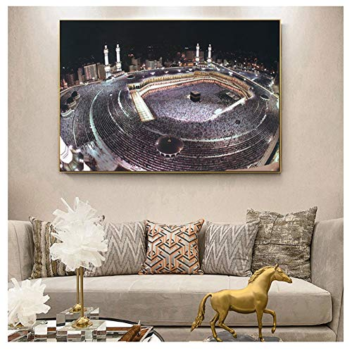 DIY 5D Diamond Painting Kit Full Drill Adult/Kid Mecca Medina Night View Diamond Embroidery Crystal Rhinestone Cross Stitch Pictures Canvas Diamond Arts Gift for Home Wall Decor Square Drill,60x80cm