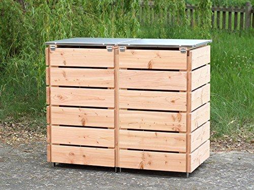 2er Mülltonnenbox 240 L, Holz / Edelstahl – Deckel, Douglasie Natur - 3