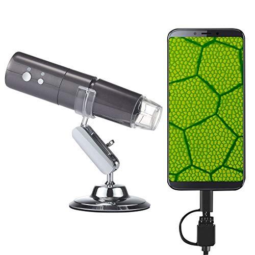 Productos electrónicos Lgmin 50x ~ 1000x Magnifier HD Image Sensor 1920x1080p USB WiFi Microscopio Digital con 8 LED y Soporte Profesional (Negro) (Color : Grey)