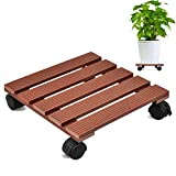 CERBIOR Plant Caddy Plant Stand with Wheels Heavy Duty Indoor/Outdoor Holds up to 12 Inches and 80 Lbs Strong and Sturdy Design (Square, Merbau)