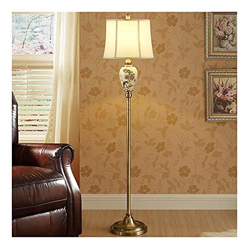 XGJJ Lámpara de pie europea LED Pantalla de tela Paquete creativo Pintado a mano Patrón Sala de estar Dormitorio Lectura Lámpara de poste alto Lámpara de pie (atenuación remota, A)