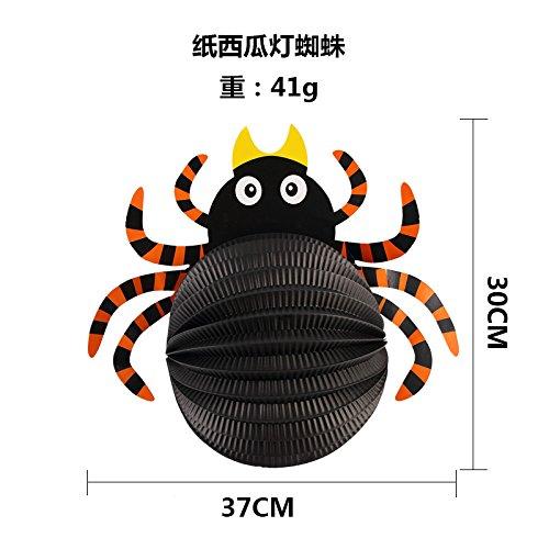 SunBai Halloween Dekorationen bar Mall Schulungsraum Papier Hexe spinne Gespenst der Fledermäuse Kürbis Laternen Wandbehänge, B6 neue schwarze Spinne