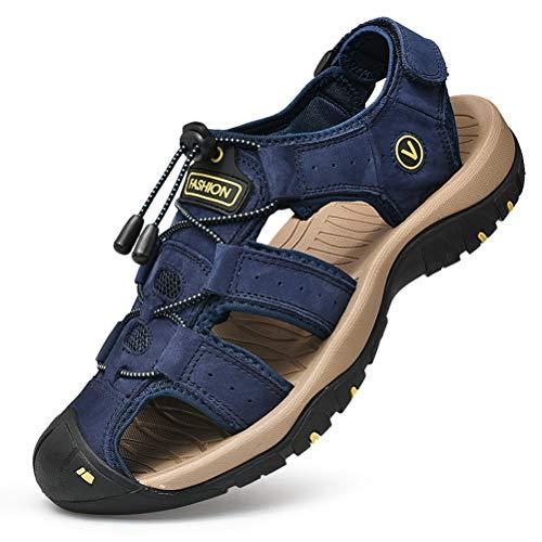 Unitysow Sandalias Hombre Verano Los Zapatillas de Senderismo Transpirable Peso Ligero Cuero Camper Deportivas Sandalias Al Aire Libre Pescador Playa Zapatos,Azul,39
