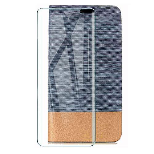 HYMY Hülle für Oppo Find X2 Lite + Schutzfolie - Einfacher Stil Leinwand-Stitching PU Lederhülle Flip mit Card Slot Handyhülle Hülle für Oppo Find X2 Lite - Light Blue