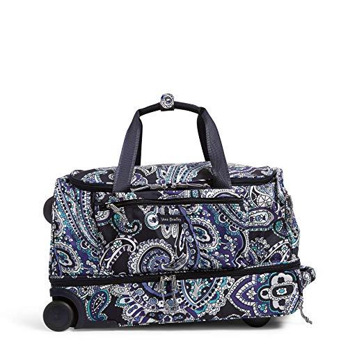 Vera Bradley Women's Lighten Up Foldable Rolling Duffle Luggage, Deep Night Paisley, One Size