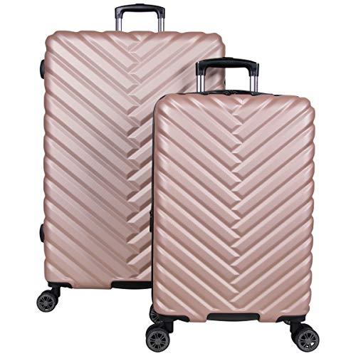 Kenneth Cole Reaction Women's Madison Square Hardside Chevron Expandable Luggage, Rose Gold, 2-Piece Set (20' & 28')