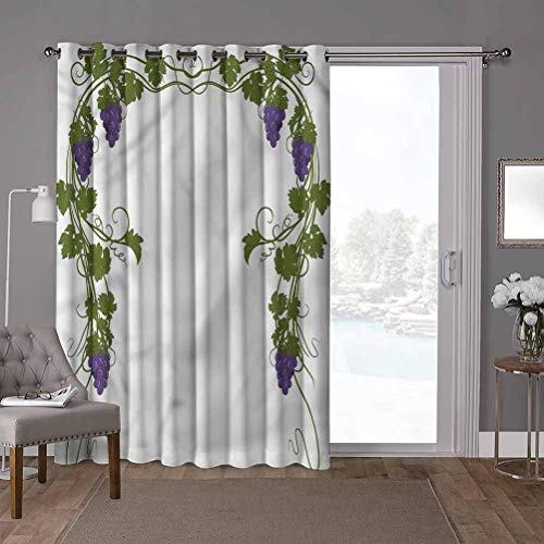 YUAZHOQI Privacy Room Divider Curtain Thermal Insulated Blackout Curtains, Vine,Wedding Inspired Green Gate, W52 x L96 Inch Sliding Glass Door Panel for Oversleep(1 Panel)