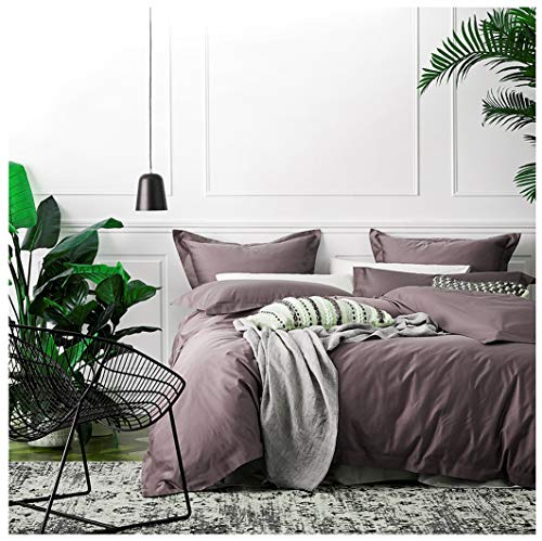 Solid Color Egyptian Cotton Duvet Cover Luxury Bedding Set High Thread Count Long Staple Sateen Weave Silky Soft Breathable Pima Quality Bed Linen (Queen, Twilight Mauve)