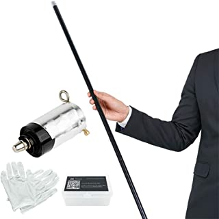 """Xfunjoy 43.30""""/110cm Black Metal Appearing Cane with Free Gloves and Video Turorial, Pocket Bo Staff Magic Wand Stage Clos..."""