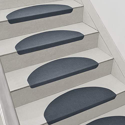 [en.casa] Set da 15 Tappeti Coprigradini per Scale Interne 65 x 23 x 4 cm Antiscivolo con Retro Adesivo - Grigio Scuro - Mezzaluna