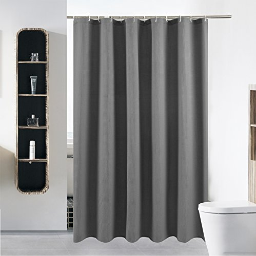 "S·Lattye Extra Long Fabric Shower Curtain or Liner Set for Bathroom Washable Waterproof Cloth Polyester (Best Hotel Quality Friendly) with Curved Plastic Hooks - 72"" x 84"", Gray Waffle"