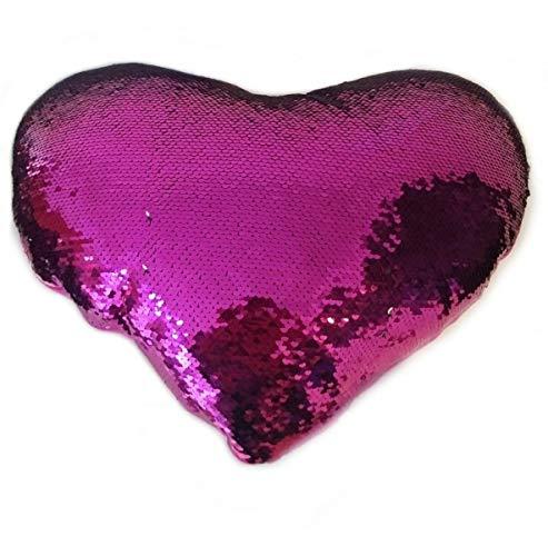 ML Cuscino di peluche con paillette a forma di cuore, colore rosso, 35 cm, per decorare la tua camera da letto, divano