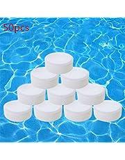 GMWD 50 Stks Chloor Tabletten, Zwembad Spa Reinigingstabletten Drijvende Chemische Dispenser Instant Pool Reiniging Tabletten Chloor Bruistool Clear Chloor Tabletten voor Zwembad
