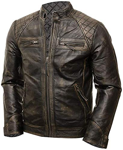 Mens Cafe Racer Jacket Vintage Motorcycle Retro Moto Distressed Leather Jacket | Quilted Distressed Dark Brown Jacket