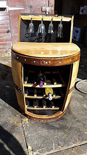 'George riciclato whisky botte portabottiglie e portabicchieri con ripiano.
