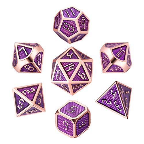 QMAY DND Metal Dice, 7 Die Polyhedral Game Dice Solid Metal D&D Dice Set with Metal Box & 2 Pencils for Role Playing Game Dungeons and Dragons D&D Pathfinder Shadowrun and Math Teaching(Purle Gold)
