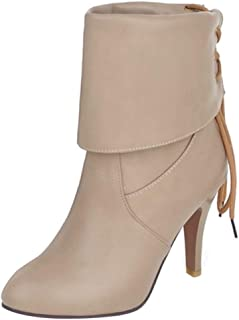 JOJONUNU Women Retro Lace Up Boots High Heels