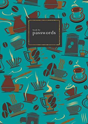 Book for Passwords: B6 Small Internet Address Notebook with A-Z Alphabetical Index   Coffee Maker Cup Bean Design   Teal