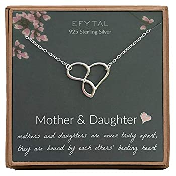EFYTAL Mom Gifts 925 Sterling Silver Infinity Heart Necklace for Mother & Daughter Mom Necklaces for Women Best Birthday Gift Ideas Pendant Mother s Day Jewelry For Her Mothers Day