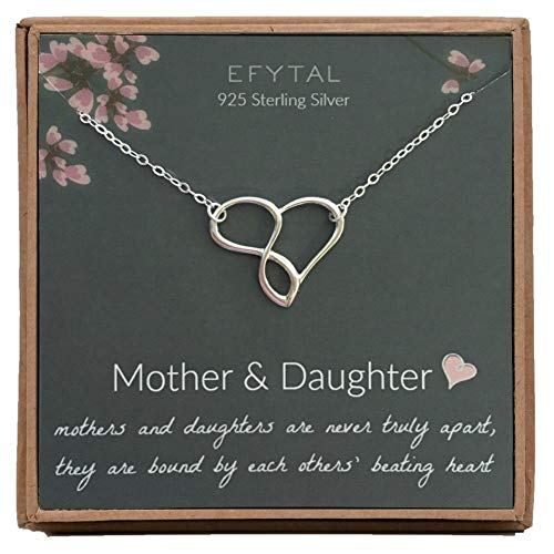 EFYTAL Mom Gifts, 925 Sterling Silver Infinity Heart Necklace for Mother & Daughter, Mom Necklaces for Women, Best Birthday Gift Ideas, Pendant Mother's Day Jewelry For Her, Mothers Day