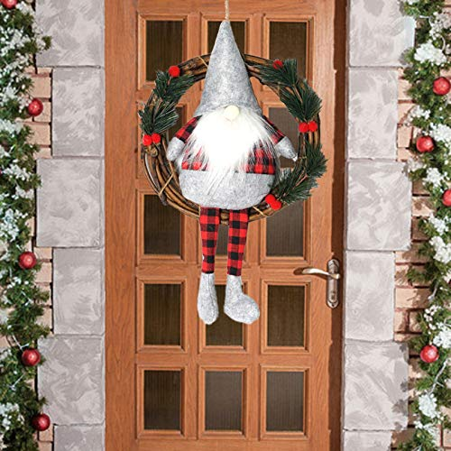 Christmas Wreath Hanging Decorations,Swedish Gnome Wreaths Front Door Santa Scandinavian Tomte Gnomes Plush Elf Ornaments Farmhouse Xmas Holiday Wreath for Door Window Fireplace Tree Wall Home Decor