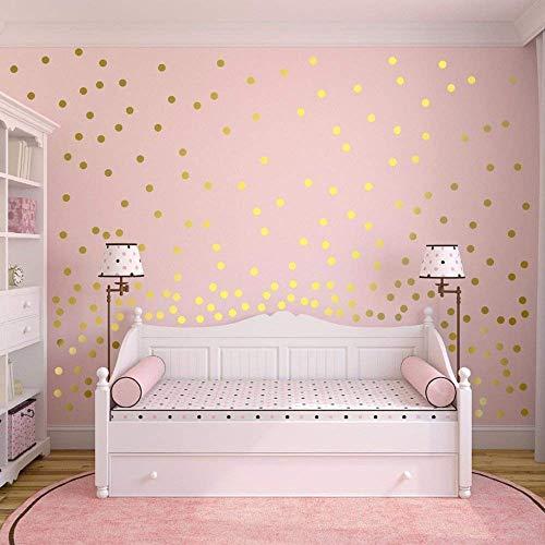 TOKERD 200 Stück Gold Punkt Aufkleber, 5cm Herausnehmbarer Dot Aufkleber, goldene Klebe Punkte Wandtattoo Punkte für Kinderzimmer Deko