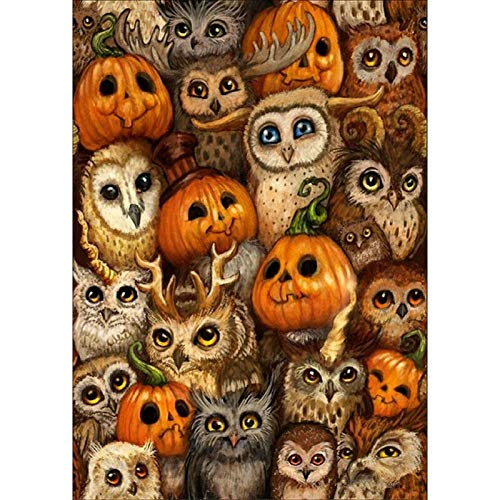 DIY Paint by Diamond Kits for Adults, Kids, Home Room Office Decoration. Gift Presents for Her Him Skeleton Pumpkin 11.8x15.7 in by Lazodaer