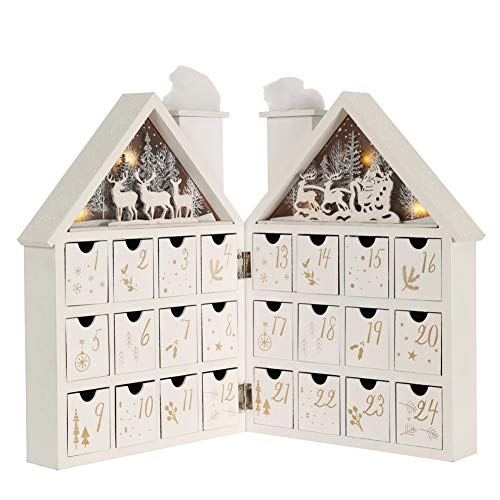 Christmas Wooden Advent Calendar House with 24 Drawers and Led Lights Countdown to Christmas Decoration Fill Small Gifts for Kids (Opened Size: 16.5'' x 1.65''x 11.8''H)