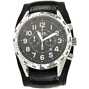 Italian Workshops Wrist Watch Men Chronograph Watch with Round Dial Steel Case and Black Leather Strap Reference tigcstlu00nebinero