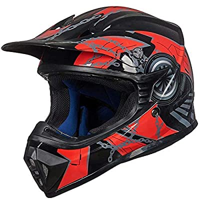 ILM Adult Youth Kids ATV Motocross Dirt Bike Motorcycle BMX MX Downhill Off-Road Helmet DOT Approved (RED Black, Youth-S)