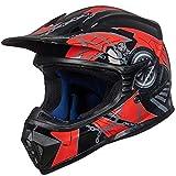 ILM Adult Youth Kids ATV Motocross Dirt Bike Motorcycle BMX MX Downhill Off-Road MTB Mountain Bike Helmet DOT Approved(Red Black, Adult-Large)