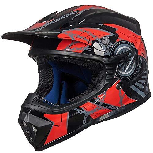 ILM Youth Kids ATV Motocross Dirt Bike Motorcycle BMX MX Downhill Off-Road MTB Mountain Bike Helmet DOT Approved(Red Black, Youth-Medium)
