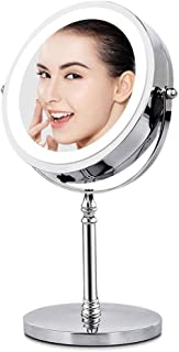 BRIGHTINWD BRIGHTINWD Makeup Mirror with Lights 10X Magnifying Light Up Tabletop Vanity Mirror Double Sided 360 Rotation Portable Travel Mirror, Great Girls (10X Light up Mirror) [Energy Class A+]