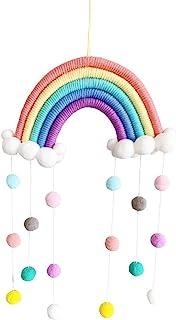 Macrame Rainbow Wall Hanging Decor Pom Pom Garland Colorful Ball for Kids Room Girls Bedroom Baby Shower Nursery Decoratio...