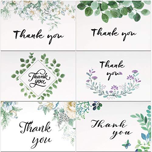 Dankeskarten Thank You Karten und Umschläge, Postkarte Danke 36 Stücke 6 Verschiedene Grünes Blatt Designs für Hochzeit, Baby & Brautdusche, Jubiläum, 15 x 10 cm