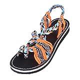 Sandalias de mujer Sandalias nuevas de moda Zapatos de verano Pisos femeninos Sandalias Mujer Roma Sandalias cruzadas Zapatos para dama, naranja azul, 42