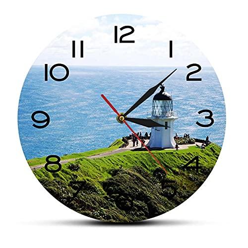 cbvdalodfej Seascape Lighthouse North IslandDesign Reloj de Pared North Edge of New Zealand Viajar a casa Decoración Art Clock