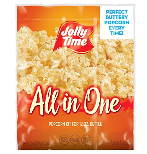 Purchase JOLLY TIME All in One Kit for 12 oz. Popcorn Machine | Portion Packet with Kernels, Oil and Salt Commercial, Movie Theater or Air Popper (Net Wt. 16 oz. Each, Pack of 18)