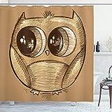 ABAKUHAUS Gekritzel Duschvorhang, Süße Eule große Augen, mit 12 Ringe Set Wasserdicht Stielvoll Modern Farbfest & Schimmel Resistent, 175x200 cm, Hellbraun