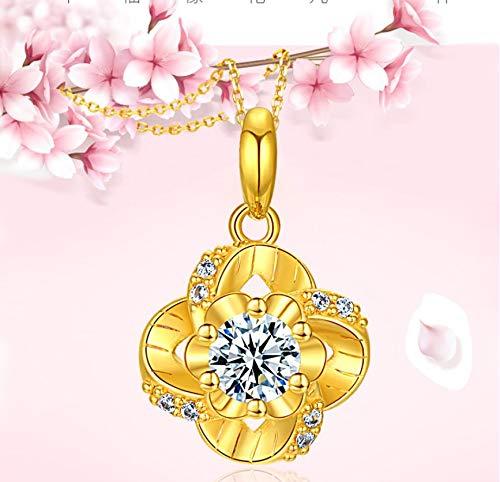 Gouden ketting vrouwelijk klavertje met vier blaadjes, vergulde bloemenhanger huwelijkssieraad sleutelbeenketting