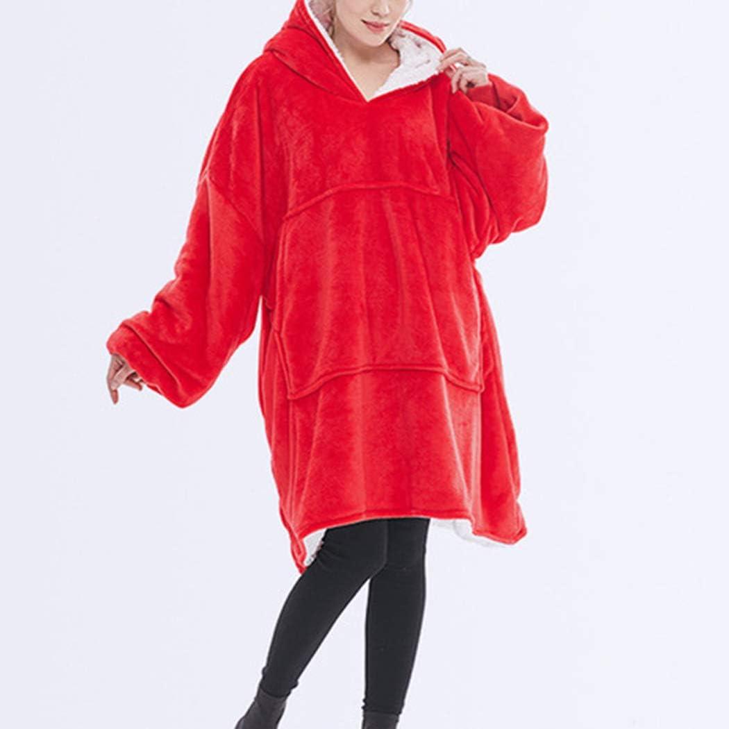 W-WENBING Couverture à Capuche Doux Moelleux Polaire Chaud Confortable surdimensionné Sweat-Shirt Portable jeté pour Femmes Filles Adultes Hommes Rouge