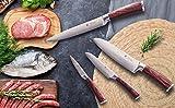 Wakoli Damastmesser Profi Messerset mit Geschenkbox, VG-10, 29 cm bis 19,5 cm, sehr hochwertiges Damast Messer, Japanische Damaszener Küchenmesser mit Pakkaholz Griffen - 6