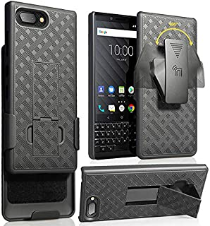 Nakedcellphone BlackBerry KEY2 Case Clip, Nakedcellphone Black Kickstand Cover [Rotating/Ratchet] Belt Hip Holster Combo B...